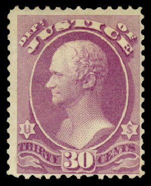 US Stamps Values Scott Cat. #O33: 1873 30c Justice Official. Daniel Kelleher Auctions, Dec 2013, Sale 640, Lot 603