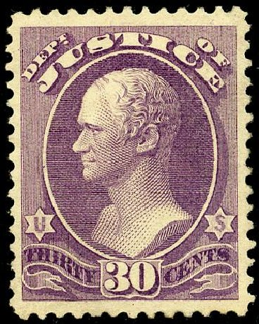 US Stamps Value Scott Catalogue O33: 1873 30c Justice Official. Matthew Bennett International, May 2008, Sale 327, Lot 286