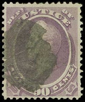 Price of US Stamps Scott Cat. #O34 - 90c 1873 Justice Official. H.R. Harmer, Jun 2015, Sale 3007, Lot 3488