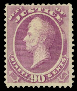 US Stamps Values Scott Cat. #O34: 1873 90c Justice Official. Daniel Kelleher Auctions, May 2015, Sale 669, Lot 3358
