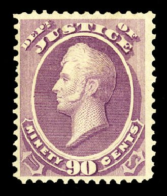 Prices of US Stamps Scott Cat. #O34 - 90c 1873 Justice Official. Cherrystone Auctions, Jul 2015, Sale 201507, Lot 2219
