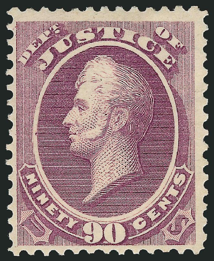 Costs of US Stamp Scott Cat. O34 - 1873 90c Justice Official. Robert Siegel Auction Galleries, Dec 2012, Sale 1037, Lot 2329