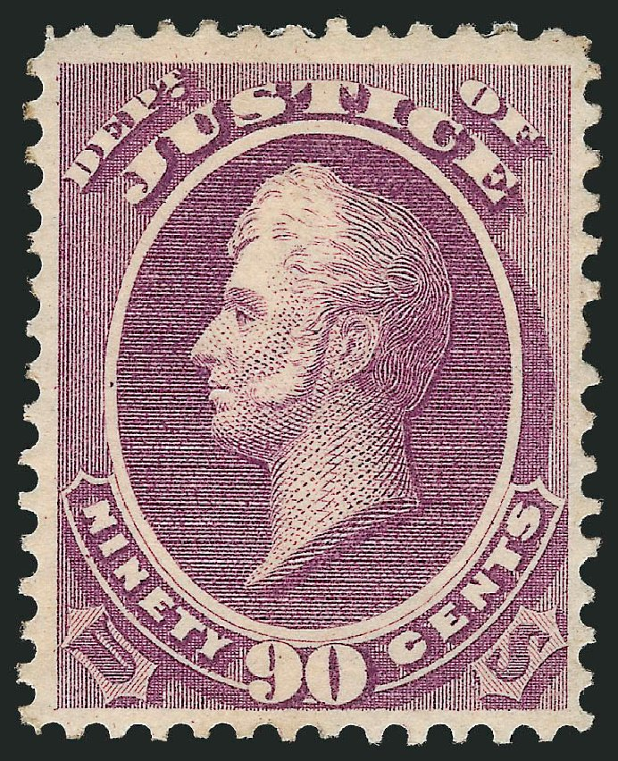 US Stamp Value Scott Cat. # O34: 1873 90c Justice Official. Robert Siegel Auction Galleries, Nov 2013, Sale 1061, Lot 4159