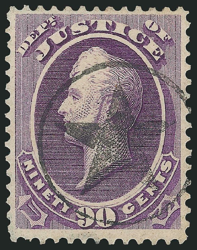 Cost of US Stamp Scott Cat. # O34: 1873 90c Justice Official. Robert Siegel Auction Galleries, Nov 2014, Sale 1085, Lot 4059