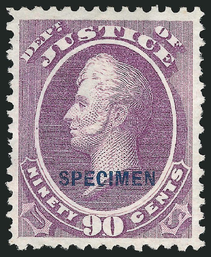Prices of US Stamp Scott Catalogue #O34 - 1873 90c Justice Official. Robert Siegel Auction Galleries, Mar 2015, Sale 1095, Lot 561