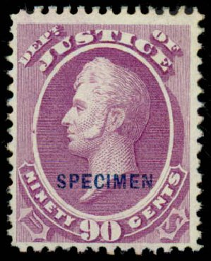 Prices of US Stamp Scott O34 - 90c 1873 Justice Official. Daniel Kelleher Auctions, Sep 2013, Sale 639, Lot 3804