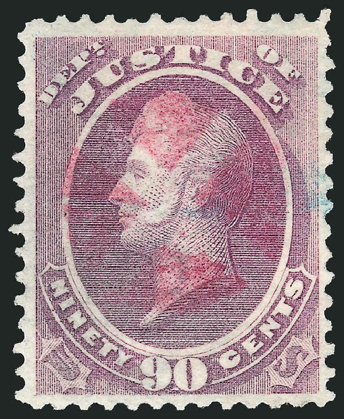 US Stamp Value Scott Catalog #O34 - 1873 90c Justice Official. Robert Siegel Auction Galleries, Dec 2013, Sale 1062, Lot 834