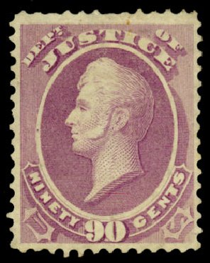 US Stamps Prices Scott Catalogue O34 - 1873 90c Justice Official. Daniel Kelleher Auctions, Dec 2013, Sale 640, Lot 605
