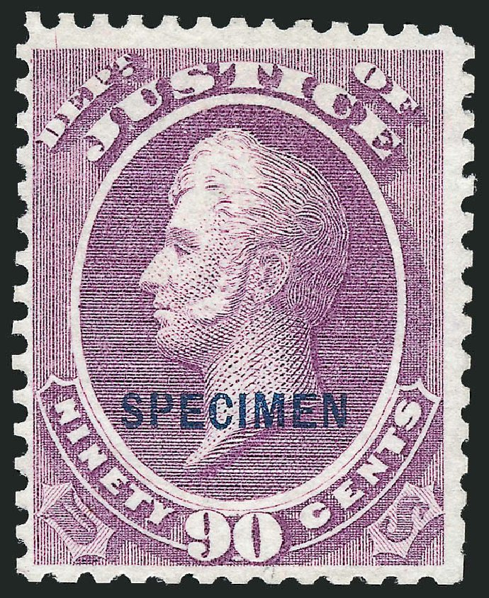 US Stamps Value Scott Cat. #O34 - 1873 90c Justice Official. Robert Siegel Auction Galleries, Nov 2013, Sale 1061, Lot 4203