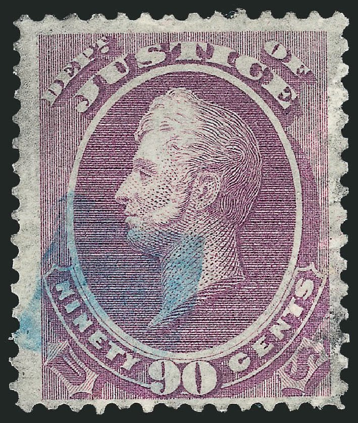US Stamp Values Scott Cat. O34 - 90c 1873 Justice Official. Robert Siegel Auction Galleries, Dec 2013, Sale 1062, Lot 833