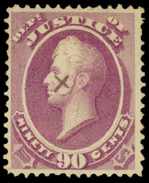Prices of US Stamps Scott Cat. #O34: 1873 90c Justice Official. Daniel Kelleher Auctions, Dec 2013, Sale 640, Lot 606