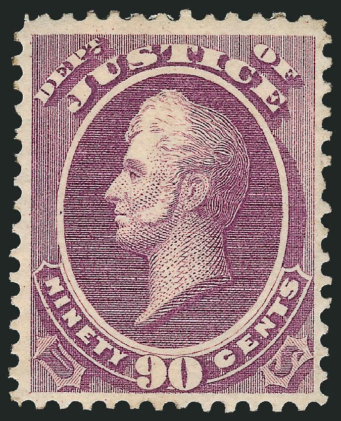 US Stamps Price Scott Cat. O34: 1873 90c Justice Official. Robert Siegel Auction Galleries, Dec 2014, Sale 1090, Lot 1666