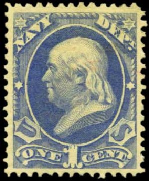 US Stamp Values Scott Catalogue #O35 - 1c 1873 Navy Official. Harmer-Schau Auction Galleries, Feb 2012, Sale 92, Lot 1328