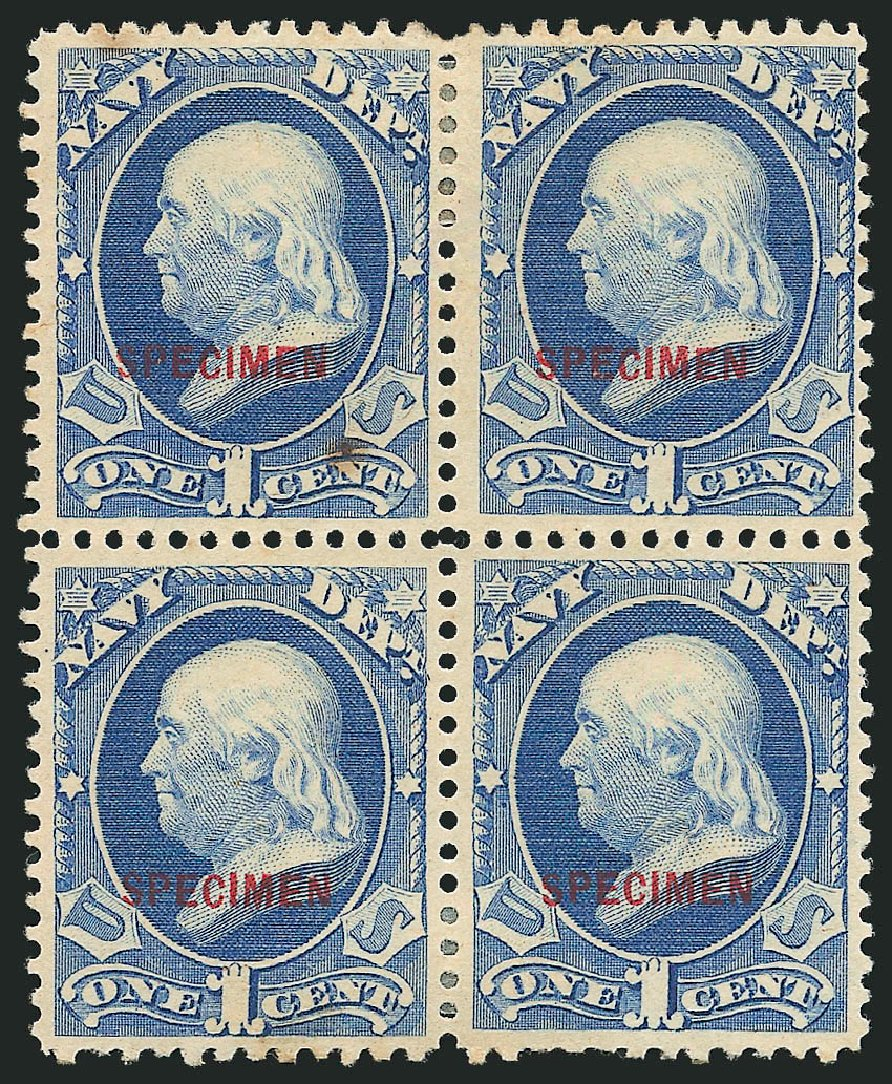 Costs of US Stamps Scott Catalog #O35 - 1873 1c Navy Official. Robert Siegel Auction Galleries, Mar 2015, Sale 1095, Lot 668