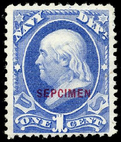 Values of US Stamp Scott Catalogue # O35 - 1c 1873 Navy Official. Matthew Bennett International, May 2008, Sale 327, Lot 289