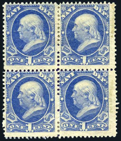 US Stamps Value Scott Catalog O35: 1873 1c Navy Official. Harmer-Schau Auction Galleries, Aug 2011, Sale 90, Lot 1724