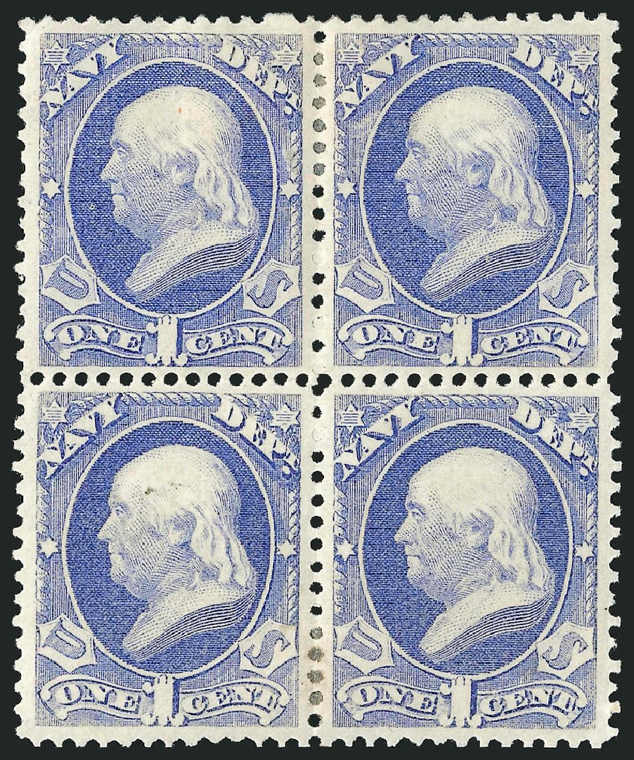 Costs of US Stamp Scott Catalogue # O35: 1873 1c Navy Official. Robert Siegel Auction Galleries, Nov 2014, Sale 1085, Lot 4064