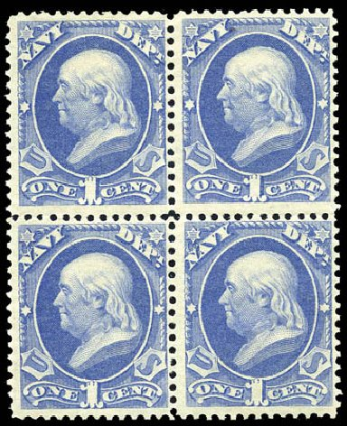 US Stamps Value Scott Catalogue O35 - 1873 1c Navy Official. Matthew Bennett International, Sep 2011, Sale 338, Lot 2045
