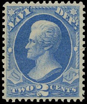 Value of US Stamps Scott Catalog # O36 - 1873 2c Navy Official. Matthew Bennett International, Jun 2008, Sale 328, Lot 1224
