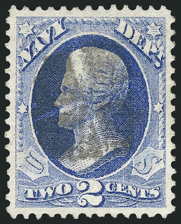 US Stamp Values Scott Cat. O36: 2c 1873 Navy Official. Robert Siegel Auction Galleries, Oct 2012, Sale 1032, Lot 3665