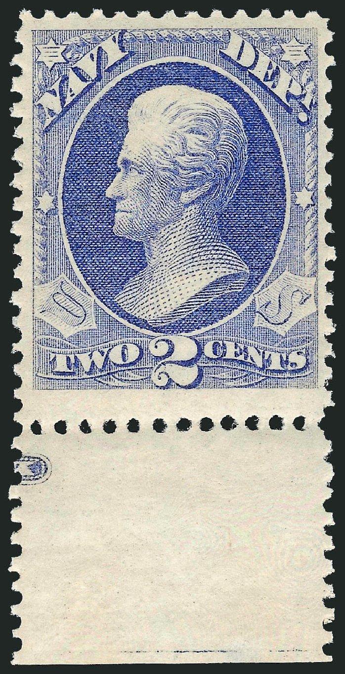 Values of US Stamps Scott Catalog O36 - 1873 2c Navy Official. Robert Siegel Auction Galleries, Dec 2008, Sale 967, Lot 5152
