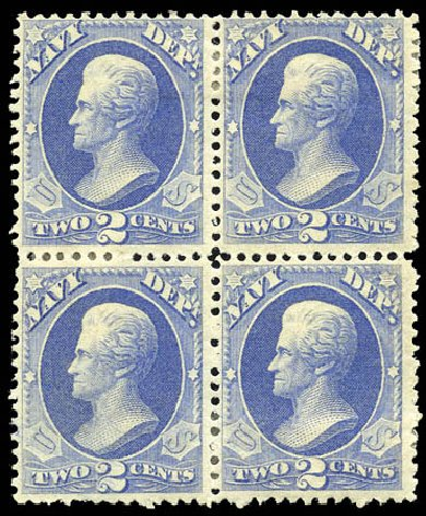 Value of US Stamp Scott Catalog # O36 - 2c 1873 Navy Official. Matthew Bennett International, Sep 2011, Sale 338, Lot 2046