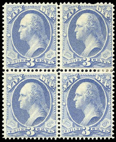 US Stamps Values Scott # O37: 1873 3c Navy Official. Matthew Bennett International, Sep 2011, Sale 338, Lot 2048