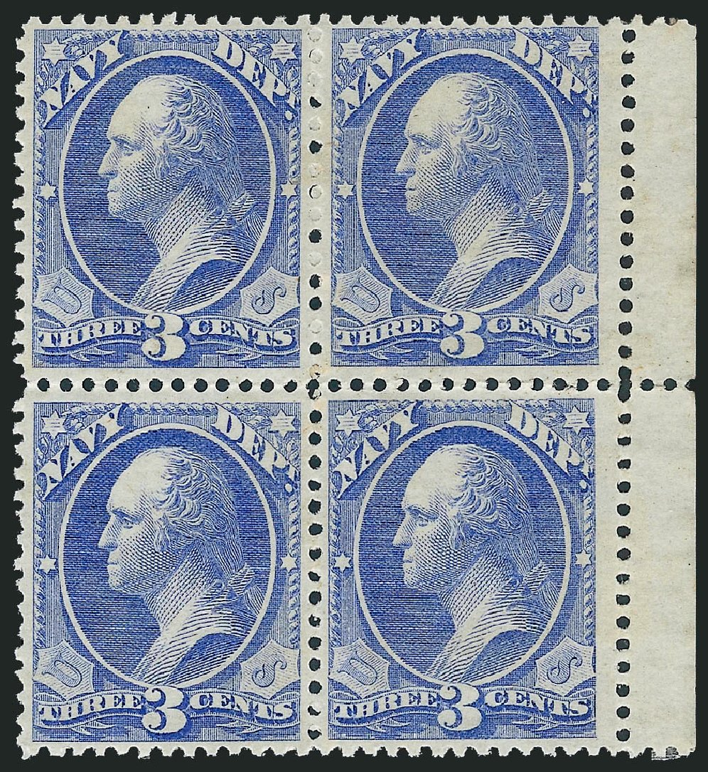 Price of US Stamp Scott #O37: 1873 3c Navy Official. Robert Siegel Auction Galleries, Jun 2011, Sale 1011, Lot 889
