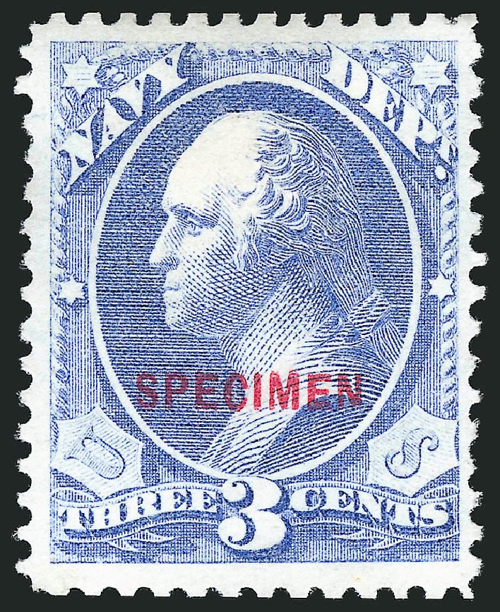 Cost of US Stamp Scott Cat. O37 - 3c 1873 Navy Official. Robert Siegel Auction Galleries, Mar 2015, Sale 1095, Lot 571
