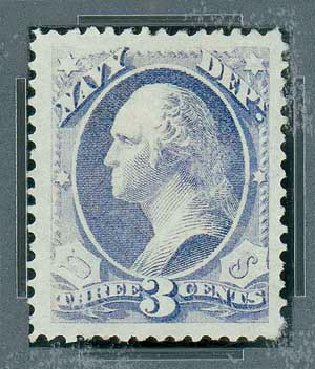 US Stamp Price Scott Catalogue O37: 1873 3c Navy Official. Matthew Bennett International, Oct 2007, Sale 322, Lot 2314