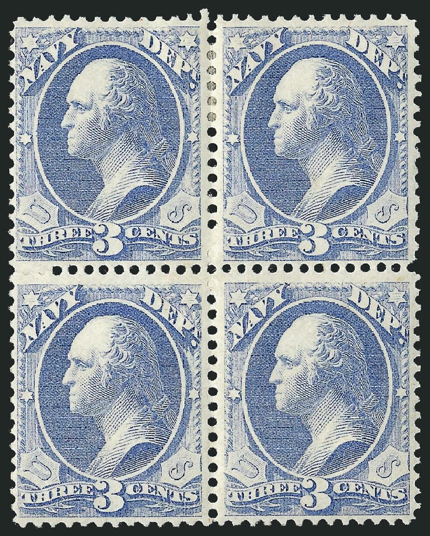 Value of US Stamp Scott Catalog O37 - 1873 3c Navy Official. Robert Siegel Auction Galleries, Nov 2014, Sale 1085, Lot 4065
