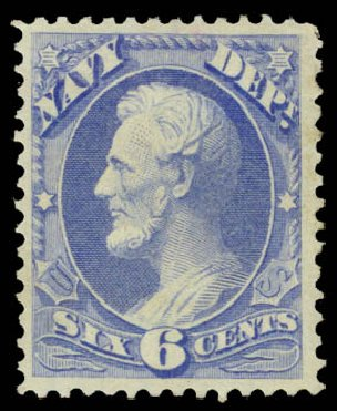 Value of US Stamps Scott Catalogue # O38: 1873 6c Navy Official. Daniel Kelleher Auctions, May 2015, Sale 669, Lot 3359