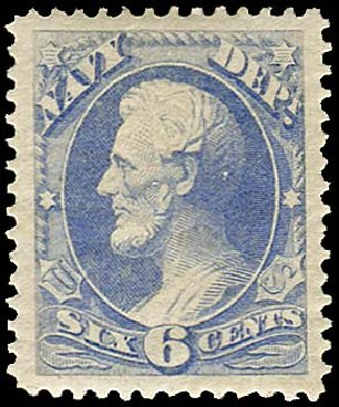 Value of US Stamps Scott Catalog # O38: 6c 1873 Navy Official. Regency-Superior, Jan 2015, Sale 109, Lot 1549