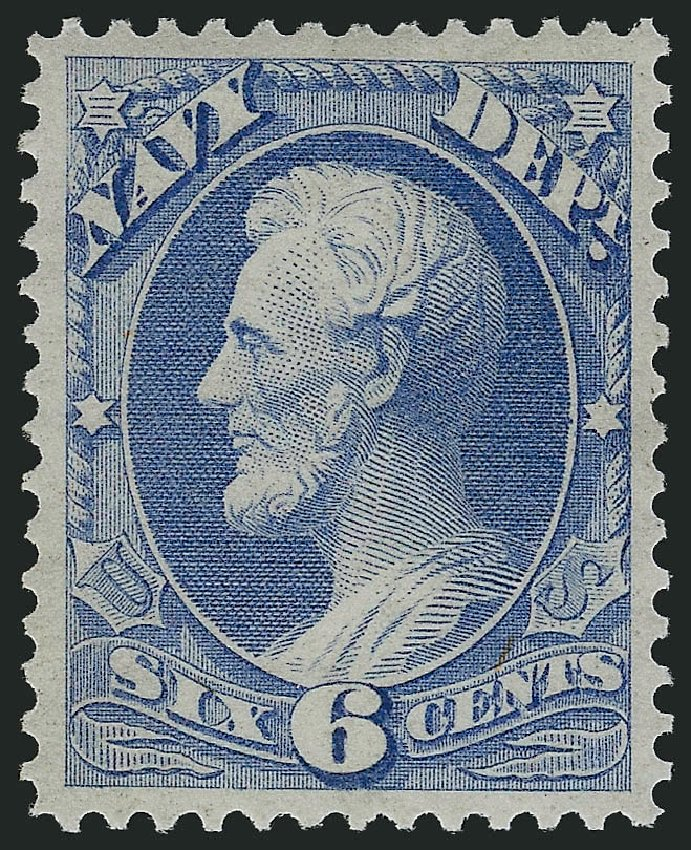 Prices of US Stamps Scott Catalog #O38 - 1873 6c Navy Official. Robert Siegel Auction Galleries, Feb 2015, Sale 1092, Lot 1459