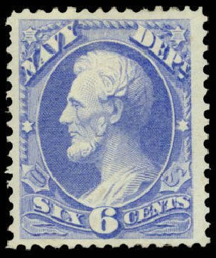 Value of US Stamp Scott Cat. #O38 - 1873 6c Navy Official. Daniel Kelleher Auctions, May 2015, Sale 669, Lot 3360