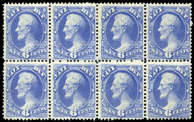 US Stamps Price Scott Catalogue O38: 6c 1873 Navy Official. Matthew Bennett International, Mar 2011, Sale 337, Lot 3181