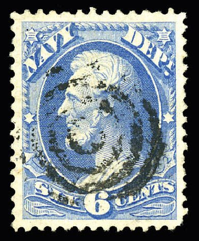 Value of US Stamp Scott Catalog O38 - 1873 6c Navy Official. Matthew Bennett International, Dec 2008, Sale 330, Lot 1924