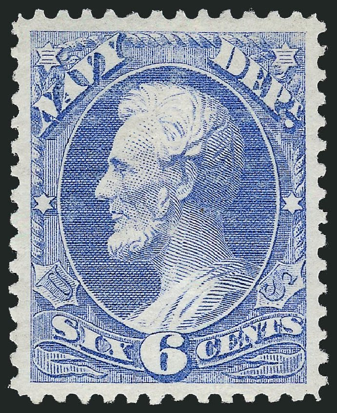 Values of US Stamps Scott Cat. #O38 - 6c 1873 Navy Official. Robert Siegel Auction Galleries, Dec 2008, Sale 967, Lot 5154