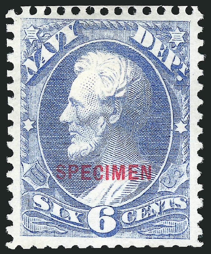 Price of US Stamps Scott Cat. #O38 - 6c 1873 Navy Official. Robert Siegel Auction Galleries, Mar 2015, Sale 1095, Lot 572