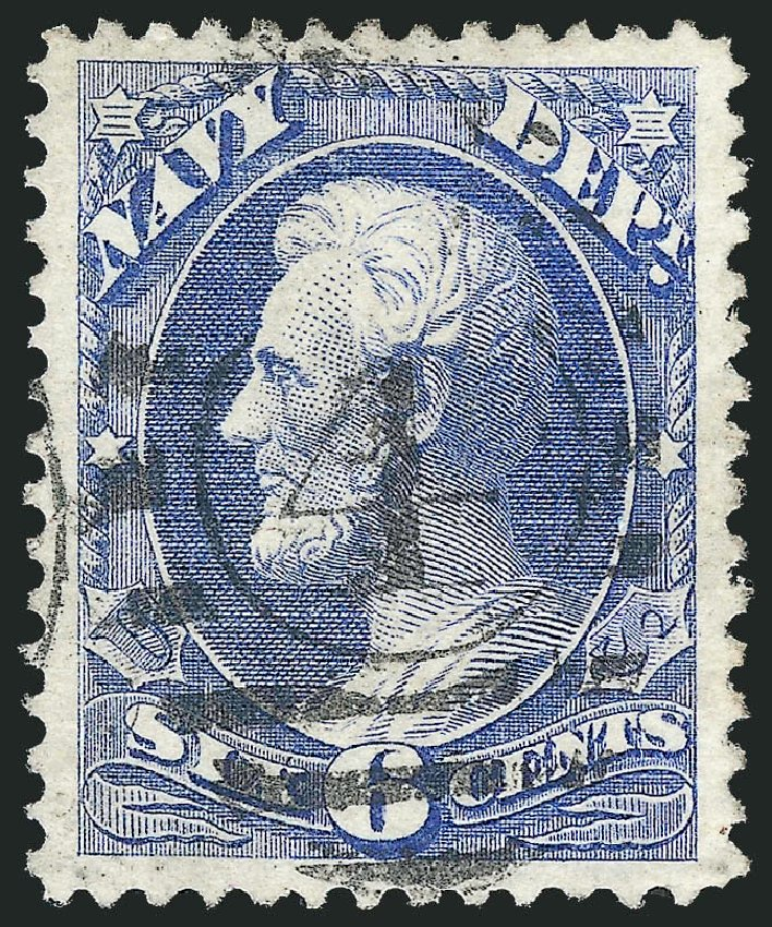 Price of US Stamp Scott Catalog O38 - 1873 6c Navy Official. Robert Siegel Auction Galleries, Oct 2012, Sale 1032, Lot 3666