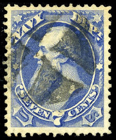 Price of US Stamps Scott O39: 1873 7c Navy Official. Matthew Bennett International, Mar 2012, Sale 344, Lot 4817