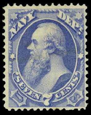 Prices of US Stamp Scott Catalog O39 - 7c 1873 Navy Official. Daniel Kelleher Auctions, Dec 2013, Sale 640, Lot 607