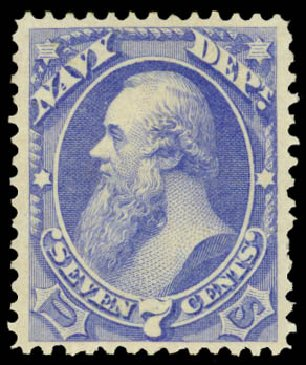 Values of US Stamp Scott Catalog O39 - 7c 1873 Navy Official. Daniel Kelleher Auctions, Aug 2015, Sale 672, Lot 2987