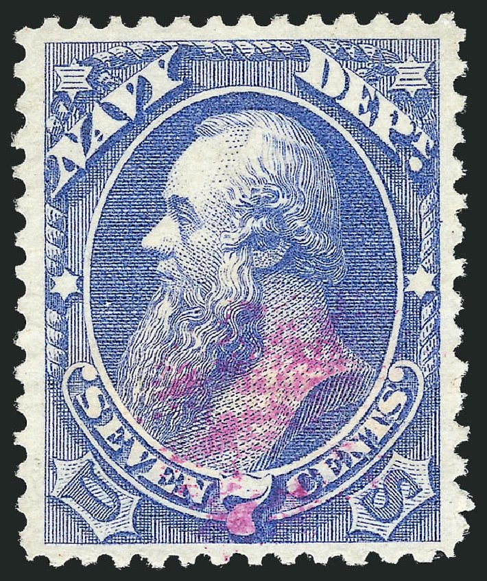 Values of US Stamp Scott Catalog #O39 - 1873 7c Navy Official. Robert Siegel Auction Galleries, Oct 2012, Sale 1032, Lot 3667