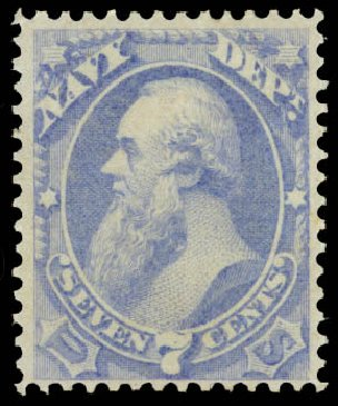 Costs of US Stamps Scott Catalog #O39: 7c 1873 Navy Official. Daniel Kelleher Auctions, Aug 2015, Sale 672, Lot 2988