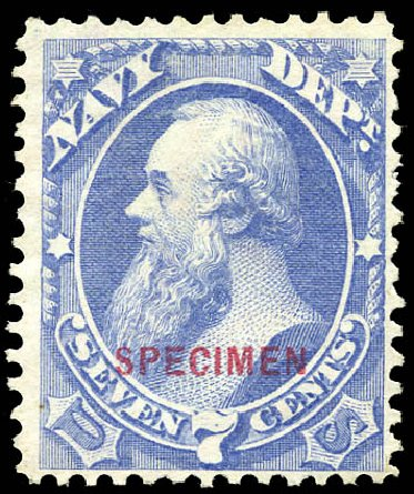 Cost of US Stamp Scott Cat. #O39: 7c 1873 Navy Official. Matthew Bennett International, Sep 2011, Sale 338, Lot 2049