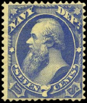 US Stamps Price Scott Cat. O39 - 7c 1873 Navy Official. Harmer-Schau Auction Galleries, Feb 2012, Sale 92, Lot 1329