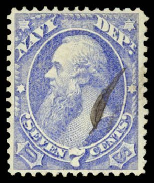 US Stamps Price Scott Catalog #O39: 7c 1873 Navy Official. Daniel Kelleher Auctions, Aug 2015, Sale 672, Lot 2989