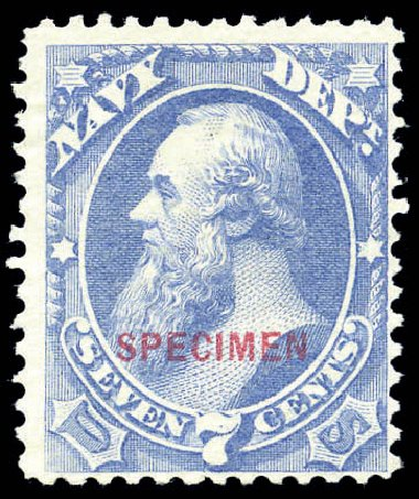 US Stamp Value Scott O39: 1873 7c Navy Official. Matthew Bennett International, Sep 2010, Sale 333, Lot 4010