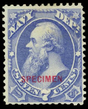 US Stamp Price Scott Cat. # O39 - 7c 1873 Navy Official. Daniel Kelleher Auctions, May 2015, Sale 669, Lot 3361